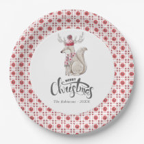 Watercolor Winter Fox Christmas Party Paper Plate