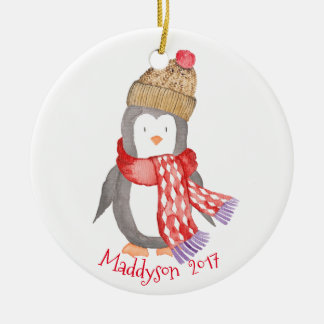 Watercolor Winter Penguin Personalized Christmas Ornament