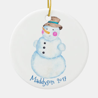 Watercolor Winter Snowman Personalized Christmas Ornament