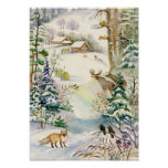 Watercolor Winter Wildlife Poster
