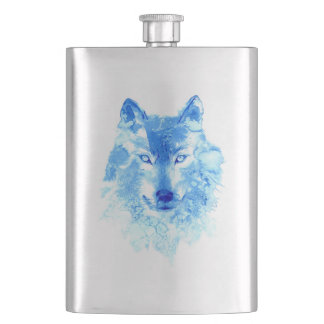Watercolor Winter Wolf Classic Flask