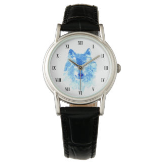 Watercolor Winter Wolf Classic Watch