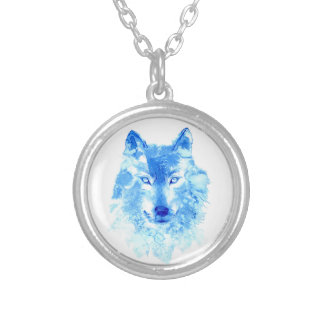 Watercolor Winter Wolf Necklace