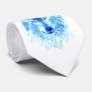 Watercolor Winter Wolf Tie