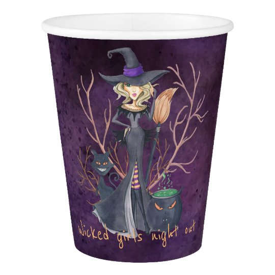 Watercolor witch Halloween bachelorette party Paper Cup