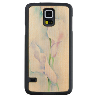 watercolor with 3 callas carved maple galaxy s5 case