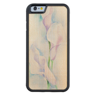 watercolor with 3 callas carved maple iPhone 6 bumper case