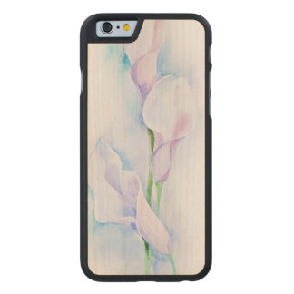 watercolor with 3 callas carved maple iPhone 6 case