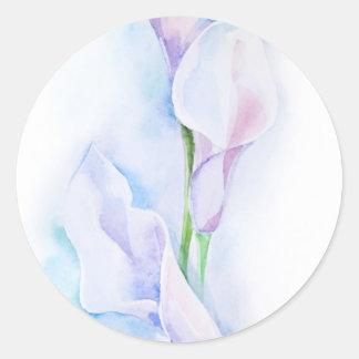 watercolor with 3 callas classic round sticker