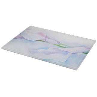 watercolor with 3 callas cutting board