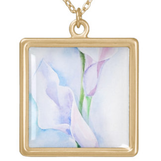 watercolor with 3 callas gold plated necklace