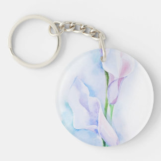 watercolor with 3 callas key ring