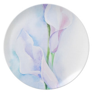 watercolor with 3 callas plate