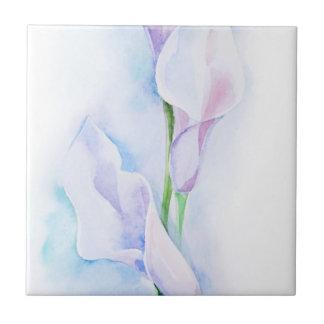 watercolor with 3 callas tile