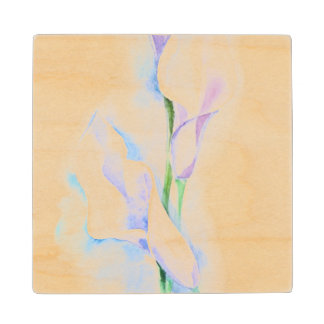watercolor with 3 callas wood coaster