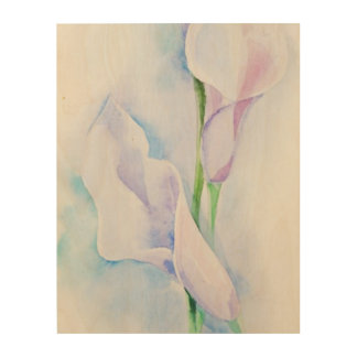 watercolor with 3 callas wood print