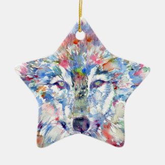 watercolor WOLF .3 Christmas Ornament