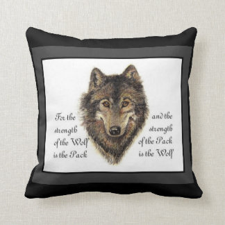 Watercolor Wolf and Family Pack Quote Cushion