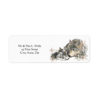 Watercolor  Wolf & Cub Animal Art