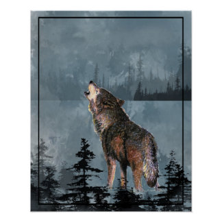 Watercolor Wolf Howling Across the Lake Poster