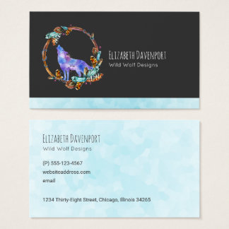 Watercolor Wolf Howling in a Boho Style Wreath Business Card
