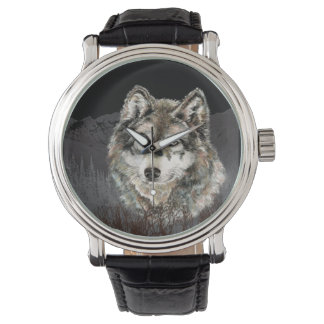 Watercolor Wolf Mountain Animal Nature Art Watch
