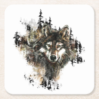 Watercolor Wolf Mountain Wilderness Animal Art Square Paper Coaster