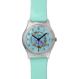 Watercolor Wolf Standing in a Boho Style Wreath Wristwatches