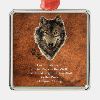 Watercolor Wolf Track Family Quote by Kipling Christmas Ornament