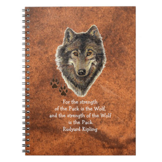 Watercolor Wolf & Tracks Family Animal Quote Notebook