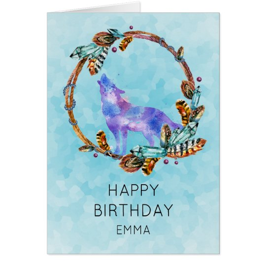 Watercolor Wolf with a Boho Style Wreath Birthday
