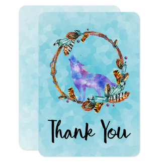 Watercolor Wolf with a Boho Style Wreath Thank You Card