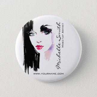 Watercolor woman portrait makeup artist branding 6 cm round badge