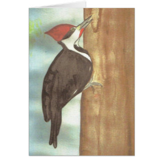 watercolor woodpecker card