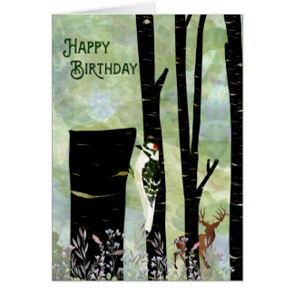 Watercolor woodpecker woodland scene card