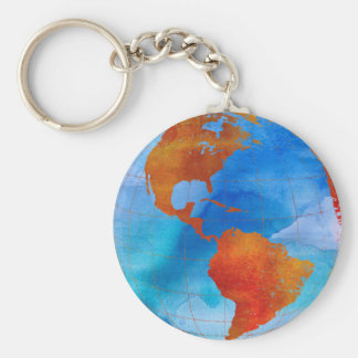 Watercolor World Key Ring