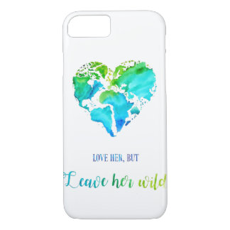 Watercolor World Map in Heart Shape - Phone Case