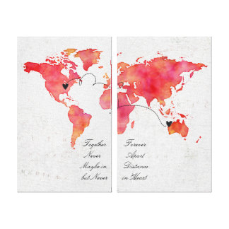 Watercolor World Map Long Distance Relationship Canvas Print
