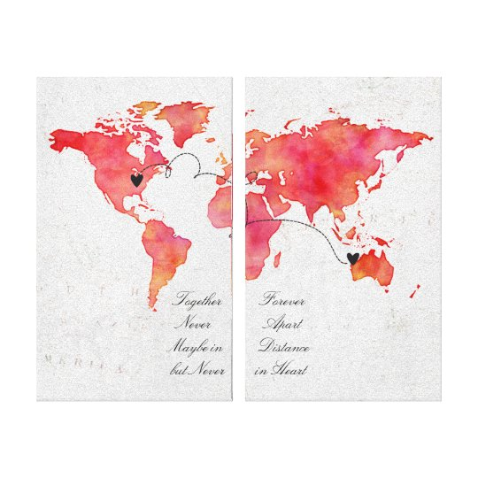 Watercolor world map long distance relationship canvas print watercolor world map long distance relationship canvas print gumiabroncs Image collections