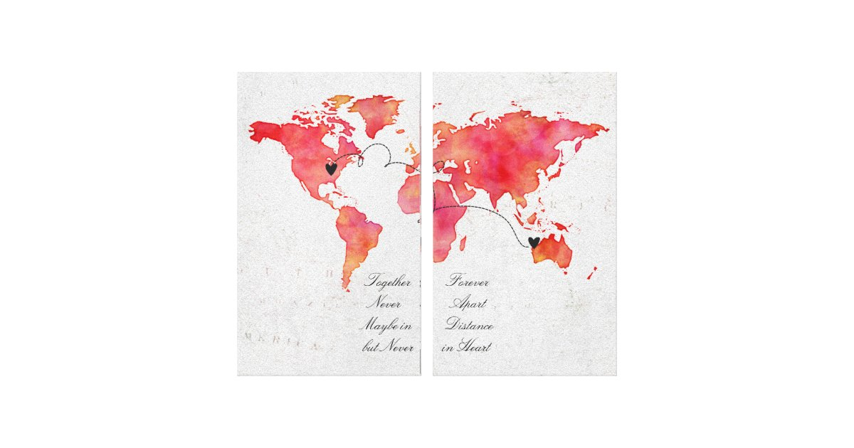 Watercolor world map long distance relationship canvas print watercolor world map long distance relationship canvas print zazzle gumiabroncs Gallery