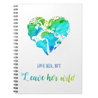 Watercolor World Map Notebook with Quote