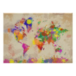 Watercolor World Map on Old Canvas Print