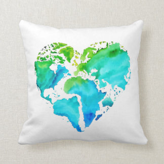Watercolor World Map Pillow - Heart Shaped Map