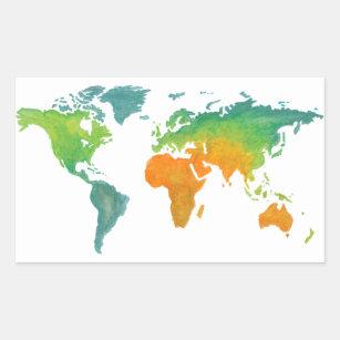 Watercolor world map stickers labels zazzle uk watercolor world map sticker gumiabroncs Image collections