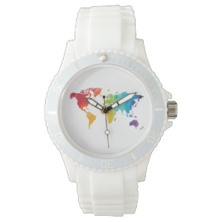 Watercolor World Map Travel Watch