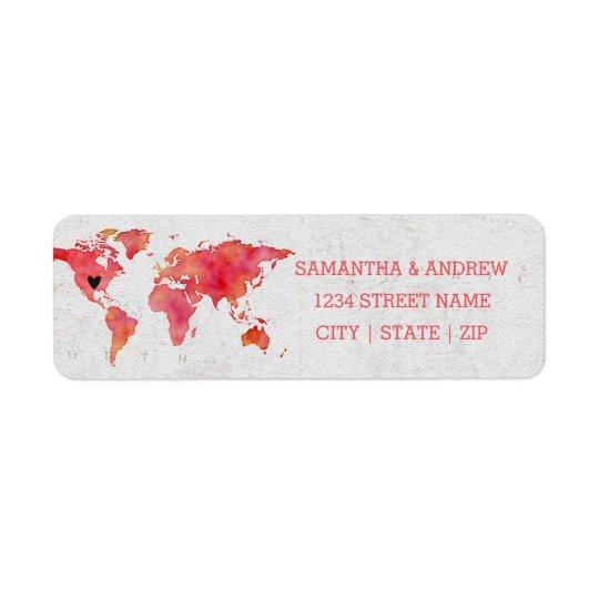 Watercolor World Map Wedding Return Address