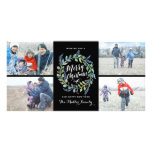Watercolor Wreath 4 Photo Holiday Black Picture Card