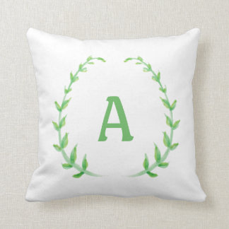 Watercolor Wreath Custom Monogram Pillow