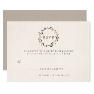 Watercolor Wreath RSVP Card | Twig 9 Cm X 13 Cm Invitation Card