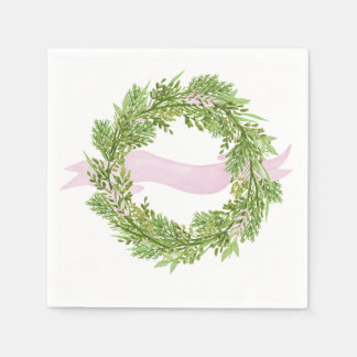 Watercolor wreath with pink ribbon disposable napkin